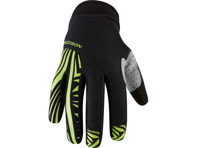 MADISON Flux men's gloves, black / krypton lime click to zoom image