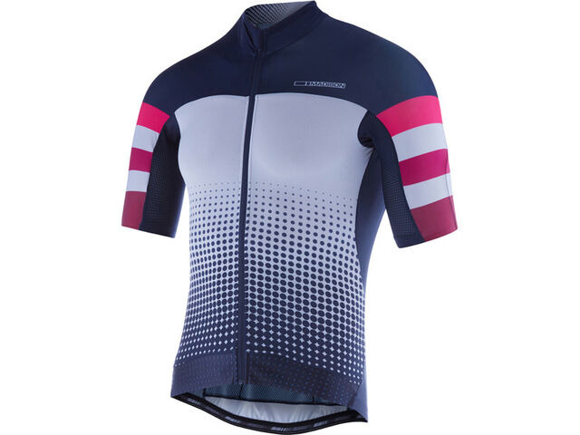 MADISON RoadRace Premio men's short sleeve jersey, ink navy/burgundy stripes Ltd click to zoom image