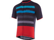 MADISON Peloton men's short sleeve jersey, dark shadow/cyan blue torn stripes