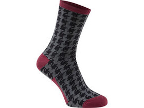 MADISON RoadRace Apex long sock, houndstooth black / classy burgundy