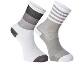 MADISON Sportive mid sock twin pack, block stripe white/cloud grey