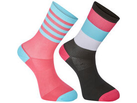 MADISON Sportive mid sock twin pack, block stripe black/pink glo