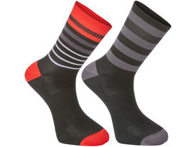 MADISON Sportive long sock twin pack, multi hoop black/flame red