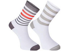 MADISON Sportive long sock twin pack, multi hoop white/flame red