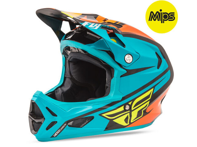 FLY RACING Werx Rival Mips Carbon Full Face Teal / Orange / Black click to zoom image