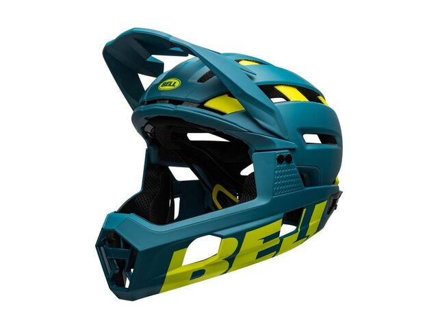 BELL CYCLE HELMETS Super Air R Mips MTB Full Face Helmet Matte/Gloss Blue/Hi-viz click to zoom image