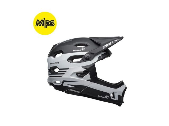 BELL CYCLE HELMETS Super Dh Mips MTB Helmet 2019: Fasthouse Stripes Matte Black/White click to zoom image