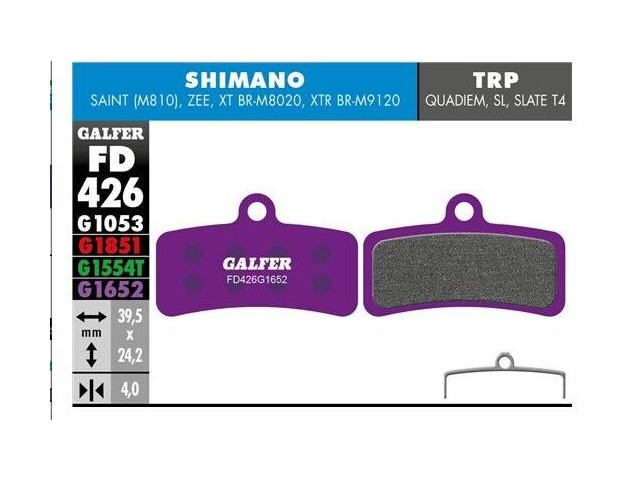 GALFER Shimano Zee - Saint  E-bike (Purple) Disc Pads FD426G1652 click to zoom image