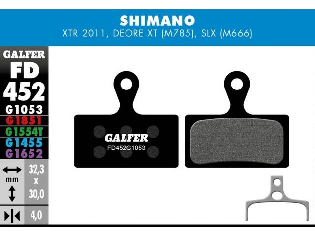 GALFER Shimano XT M8000 - SLX M7000 Wet Weather Disc Brake Pad (Red) click to zoom image