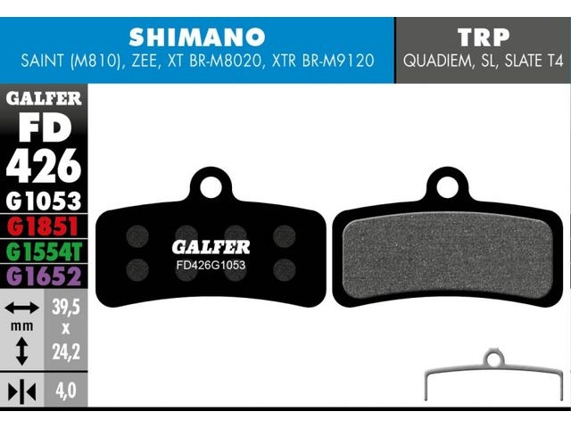 GALFER Shimano Saint - Zee Wet Weather Disc Brake Pad (Red) click to zoom image