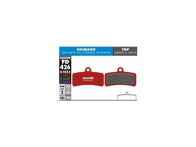 GALFER Shimano XT M8020 4 piston Wet Weather Disc Brake Pad (Red) FD426G1851 click to zoom image