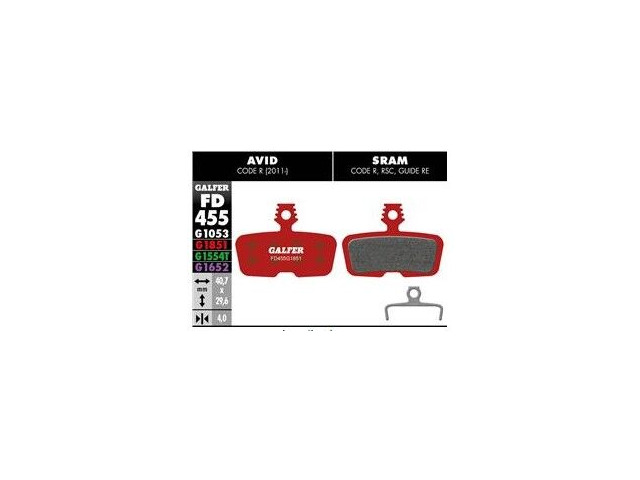 GALFER Avid Code Wet Weather Disc Brake Pads (red) FD455G1851 click to zoom image
