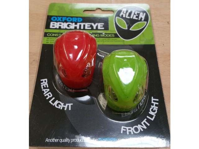 OXFORD Brighteye Alien LED front and rear lightset Green and red click to zoom image