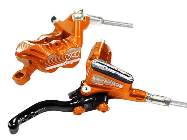 HOPE Tech3 V4 Braided Hose brakes Front and Rear in Orange click to zoom image