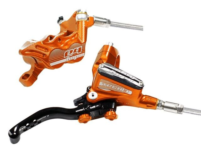 HOPE Tech3 E4 Standard Hose brakes Fixed Rotors and Mounts Front and Rear Orange click to zoom image