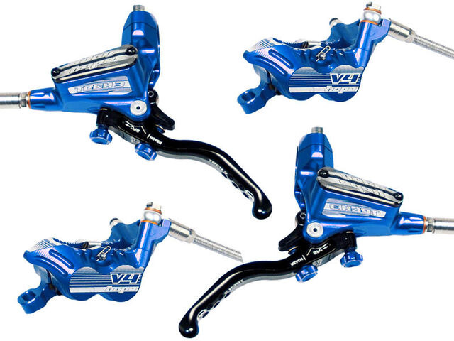 HOPE Tech3 V4 Front and Rear with Floating Rotors and mounts in Blue click to zoom image