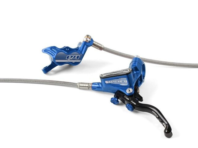 HOPE Tech3 E4 Braided Hose brake with Fixed Rotor and mount in Blue click to zoom image